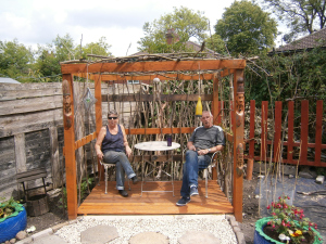 Growers Michelle and Trev taking a break from Gardening for five minutes.